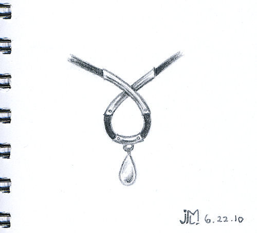 Pencil Sketch of Black Rubber, Silver and Pearl Pendant by Joana Miranda