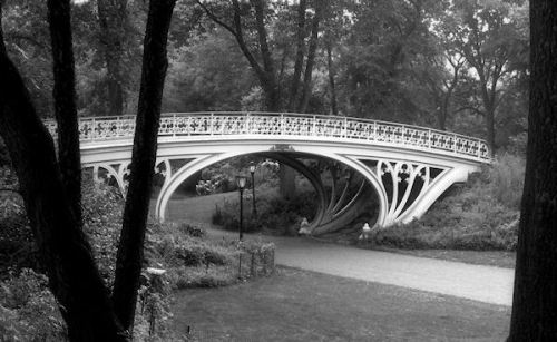Black and white photo of bridge in Central Park taken by Joana Miranda