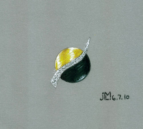 Colored Pencil and Gouache Yin Yang Themed Gold, Onyx and Diamond Brooch by Joana Miranda