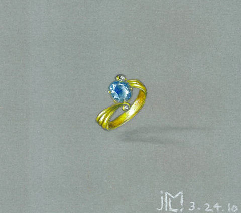 Colored pencil and gouache gold, aquamarine and diamond engagement ring rendering by Joana Miranda