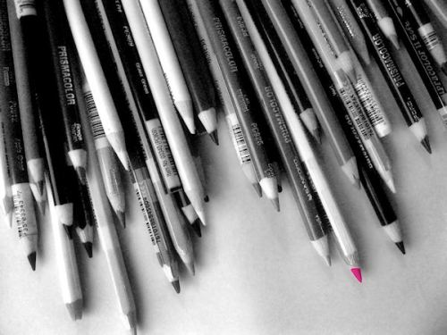 Black and white photo of colored pencils with one pencil tip colored hot vivid pink