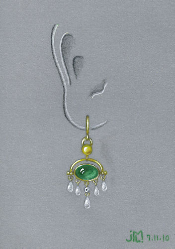 Colored pencil and gouache rendering of gold, emerald, diamond and pearl earring by Joana Miranda