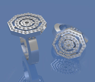 Computer Aided Design Rendering of Geometric Diamond Cocktail Rings
