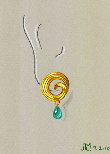Watercolor and Gouache Gold and Emerald Coil Earring Rendering by Joana Miranda