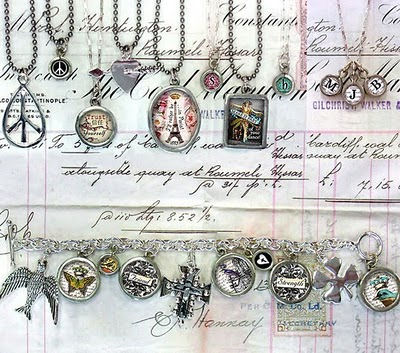 Photo of vintage-inspired pendants by Pick Up Sticks Company