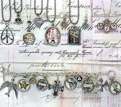 Photo of vintage-inspired pendants by Pick Up Sticks Company