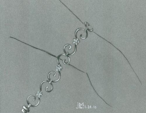 Colored Pencil and Gouache Flower Link Bracelet Rendering by Joana Miranda