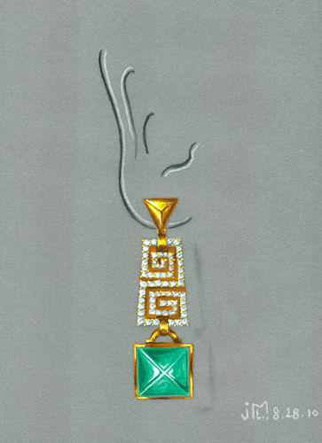 Watercolor and gouache Bulgari-inspired earring rendering by Joana Miranda
