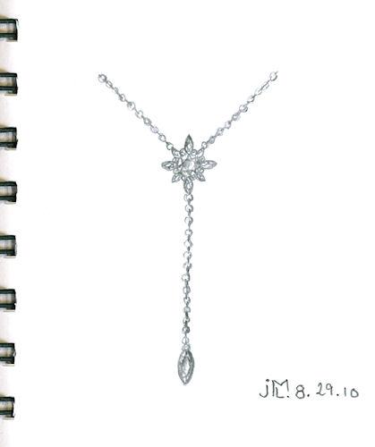 Pencil sketch of diamond flower lariat by Joana Miranda