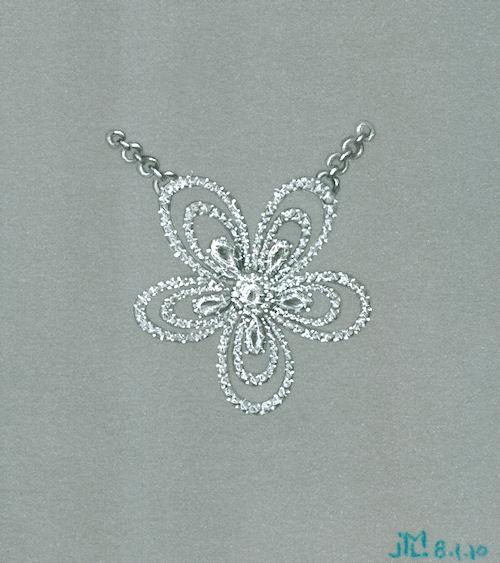 Colored pencil and gouache diamond flower pendant rendering by Joana Miranda