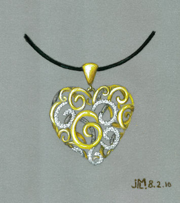 """Colored pencil and gouache """"lace"""" heart rendering with gold and diamonds by Joana Miranda"""