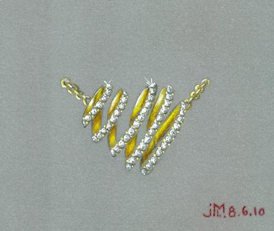Colored pencil and gouache looped heart pendant rendering by Joana Miranda