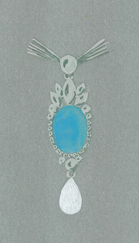 Watercolor and gouache preliminary painted opal, diamond and pearl pendant rendering by Joana Miranda