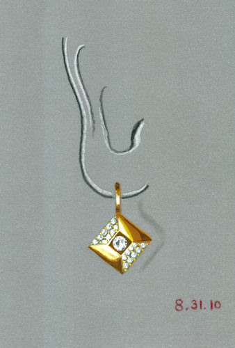 """Watercolor and Gouache Gold and Diamond """"Pillow"""" Earring Rendering by Joana Miranda"""