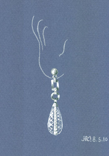 Watercolor and gouache quartz crystal briolette and diamond encrusted earring rendering by Joana Miranda