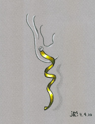 Pen and Ink Twist and Swirl Gold Earring Rendering by Joana Miranda