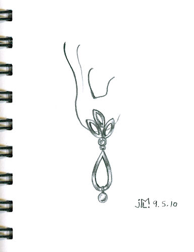 Pencil Sketch for Leaf-Inspired Drop Earring by Joana Miranda