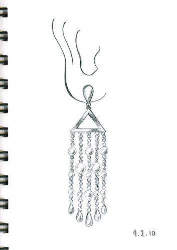 Pencil and Paper Rendering of Chandelier Earring By Joana Miranda
