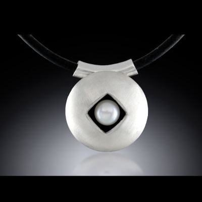 Photo of Argentium Sterling, Pearl and Black Rubber Floating Pearl Pendant by Joana Miranda