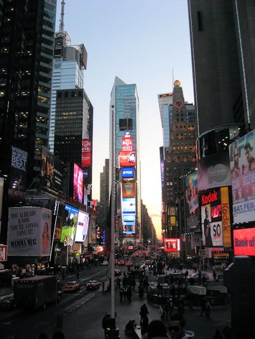 Looking south towards Times Square, photo taken by Joana Miranda