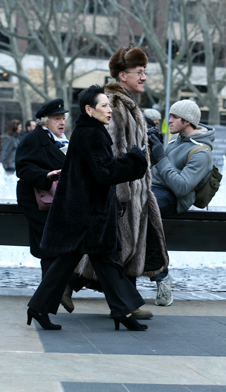 Russian-looking couple on their way to NYC Ballet, photo taken by Joana Miranda