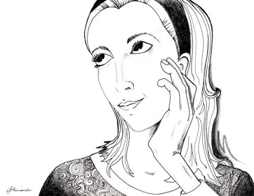 Pen and pastel self-portrait by Joana Miranda