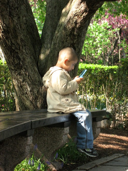 Photo of boy sitting in the Conservatory Garden playing on his Gameboy, taken by Joana Miranda
