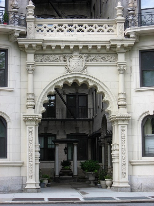 Photo of ornate apartment building doorway on Central Park West, taken by Joana Miranda