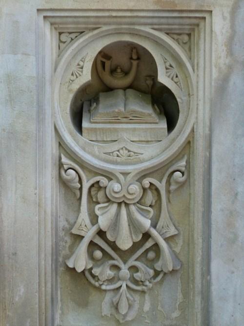 Photo of stone book at Bethesda Fountain, taken by Joana Miranda