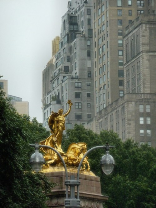 Photo of gilded statute at Columbus Circle, NY - taken by Joana Miranda