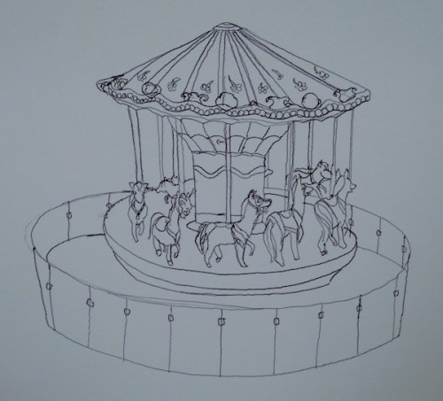 Photo of carousel drawing by LETC artist, taken by Joana Miranda