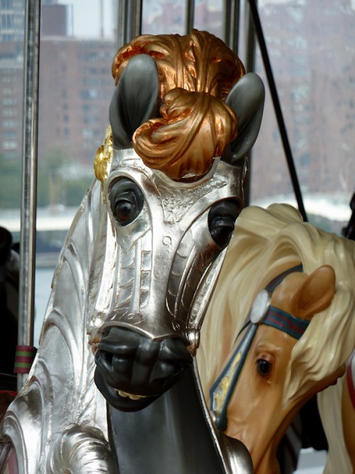 Photo of armored carousel horse, taken by Joana Miranda