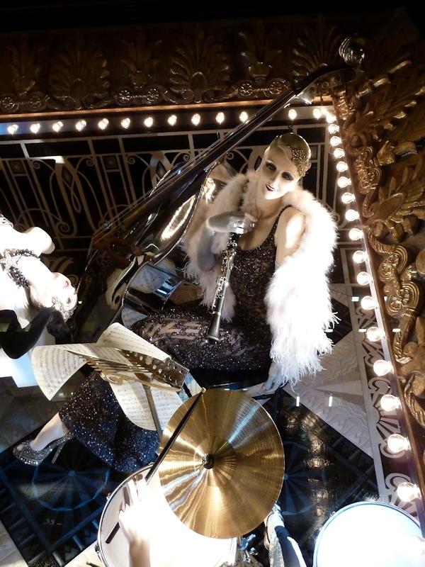 Photo of jazz window at 2012 Bergdorf Goodman Holiday Window display