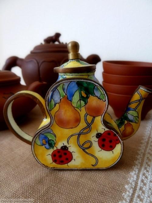 ladybug cloisonne teapot