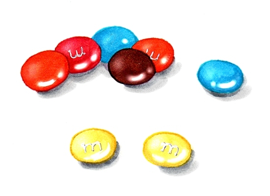 Marker and ink illustration of colored M&Ms candies by Joana Miranda