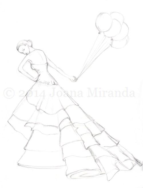 prelim sketch for glam bday card