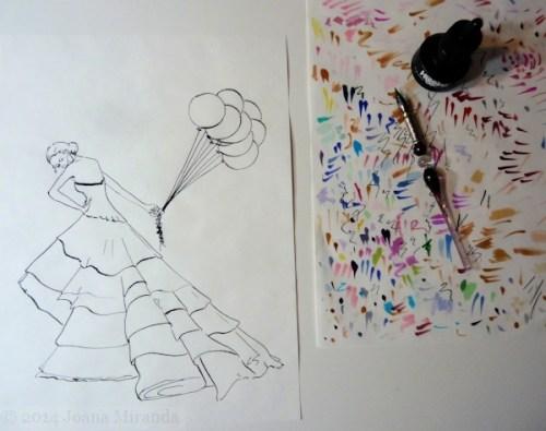 transferred pen drawing