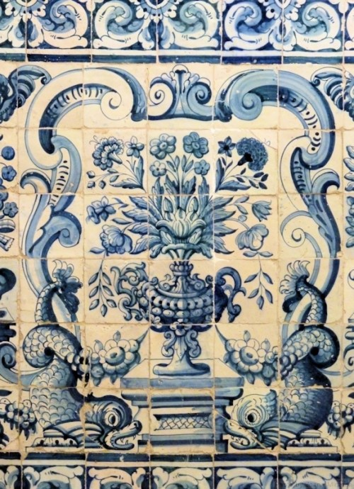 blue and white tiles with fish