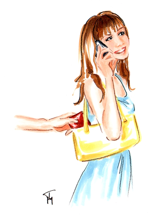 Pick pocket illustration by freelance illustrator Joana Miranda
