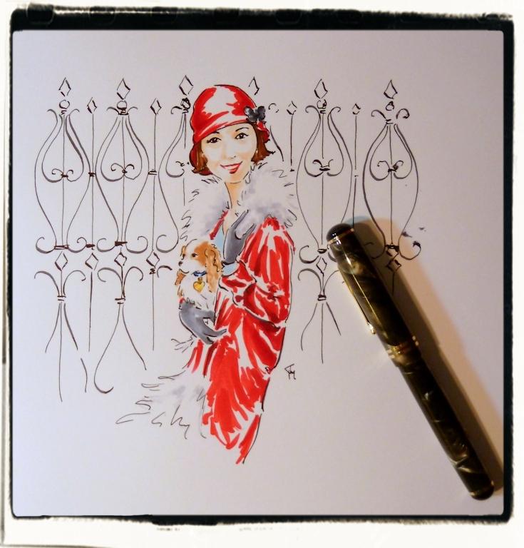 first illustration with Carter's vintage pen
