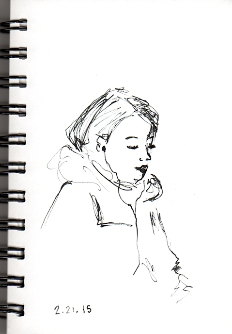 pen sketch of woman with earbuds on the subway by Joana Miranda