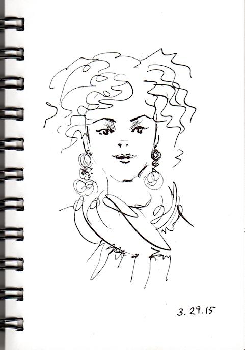 Curly hair girl sketch