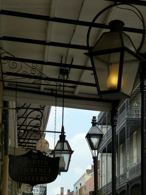 Lit lantern in New Orleans during the day