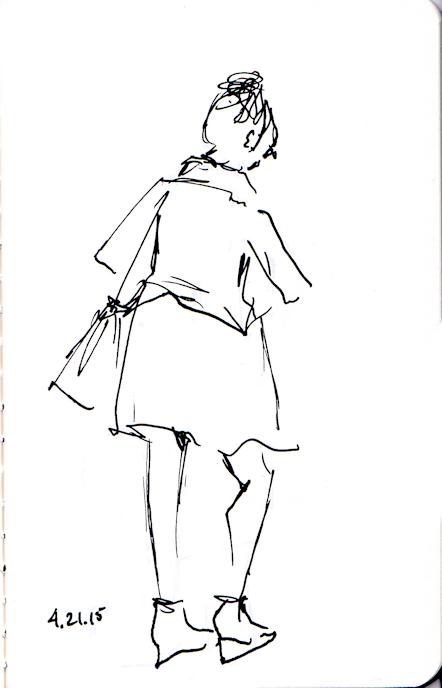 ink sketch of lady walking