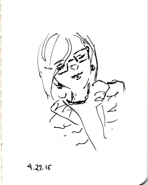 Quick ink sketch of lady with glasses