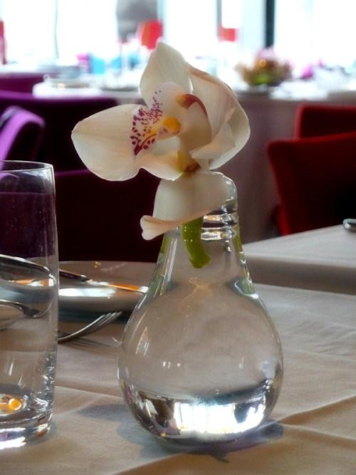 orchid vases at restaurant Robert