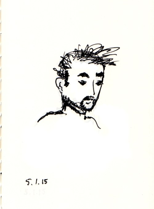 quick ink sketch of man with beard