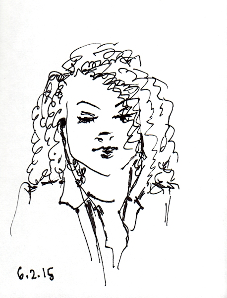 African American Woman quick ink sketch