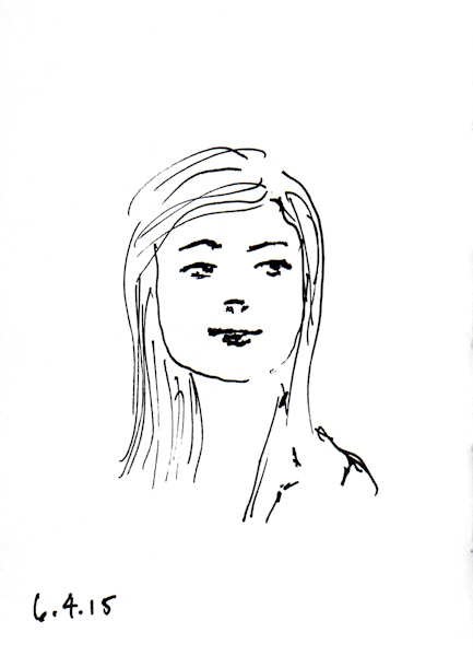 Asian woman quick ink sketch