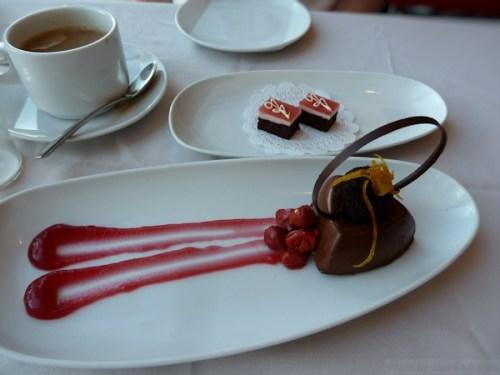 chocolate mousse dessert at Robert Restaurant